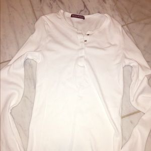 Brandy Melville ribbed white button up long sleeve